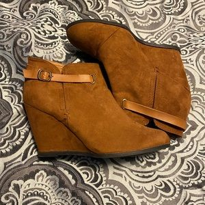 Maurices Cognac Faux Suede Booties